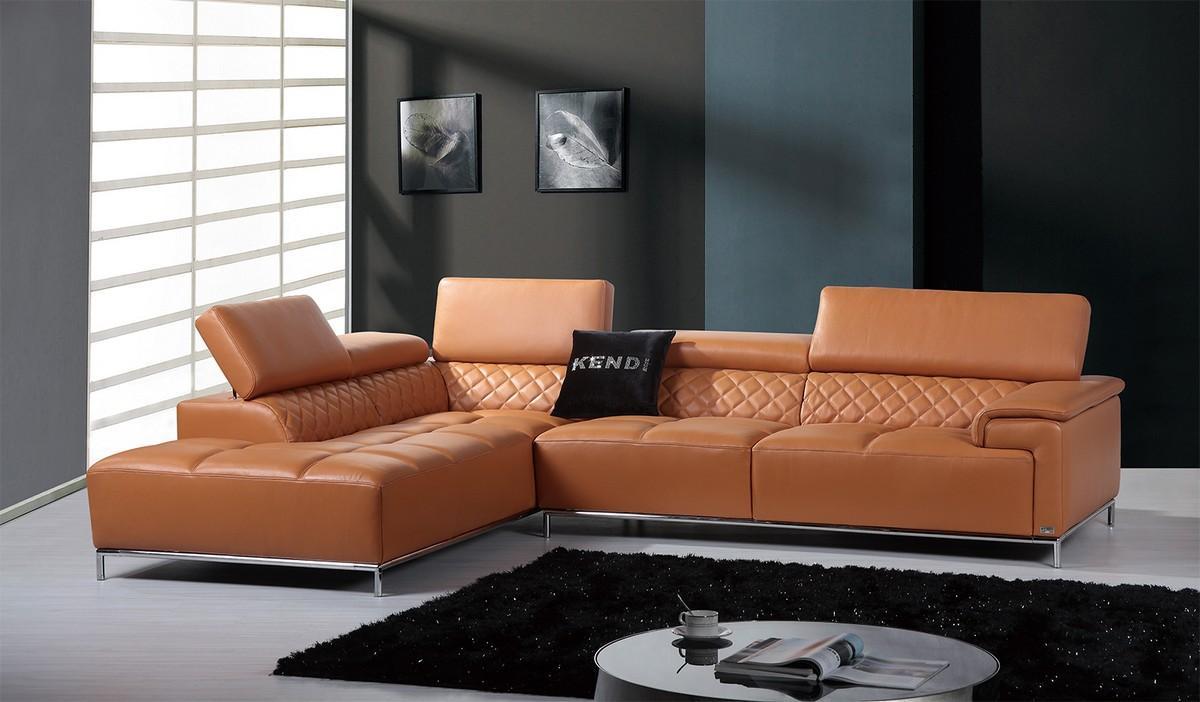 Divani Casa Citad Sectional Sofa in Orange Leather
