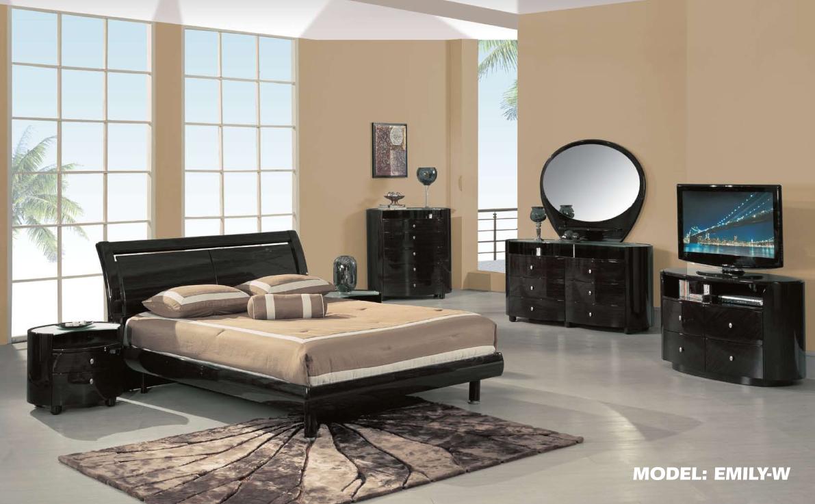Emily Modern Bedroom Set In Wenge By Global Furniture