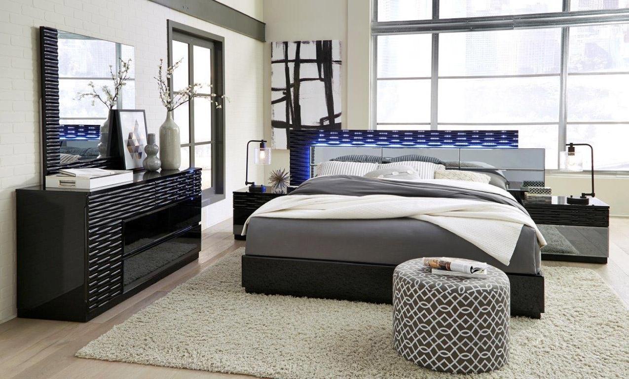Global Manhattan Bedroom Set In Black Finish With Led Lights