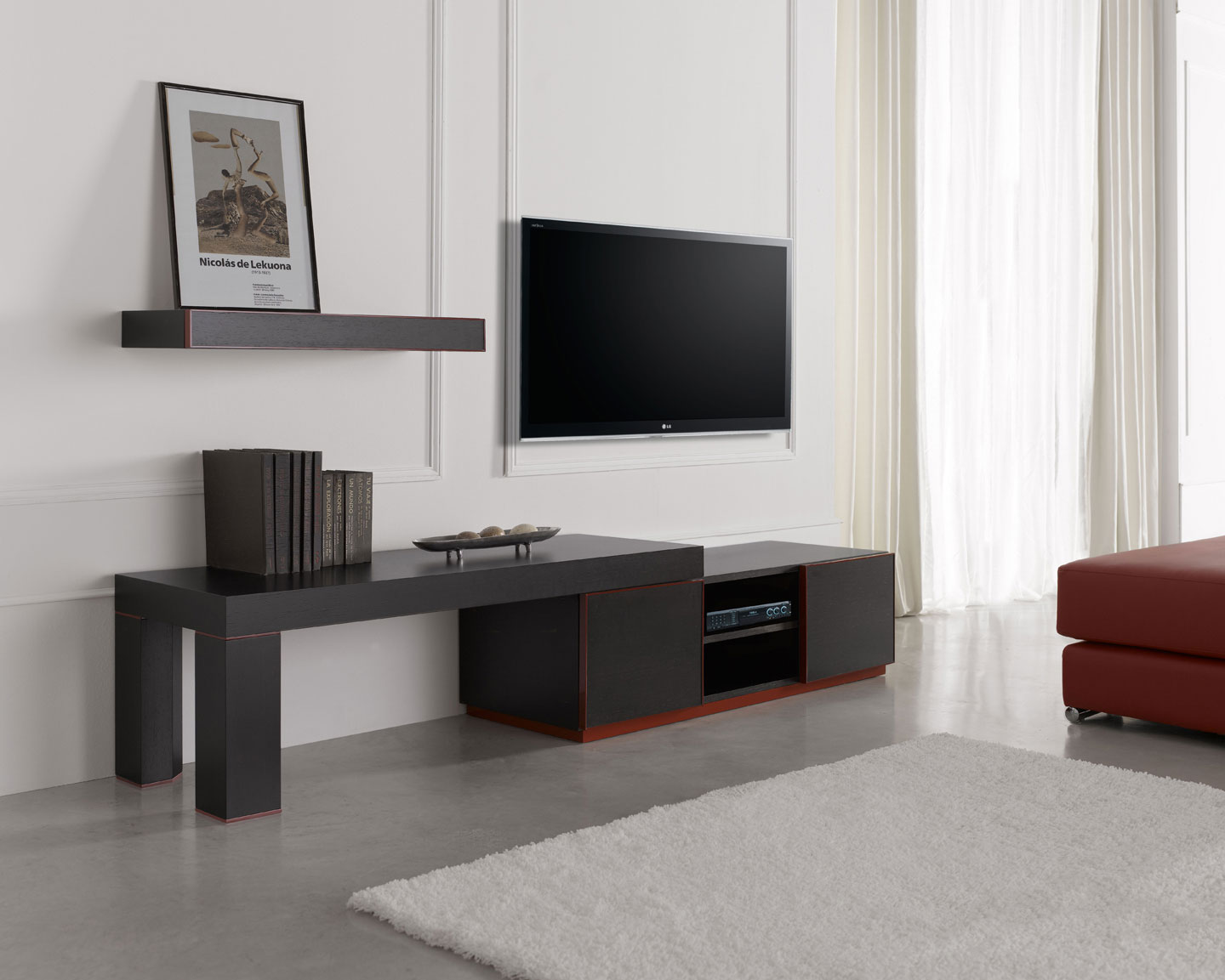 Stupendous Inessa Modern Long Tv Stand In Red And Black Finish Download Free Architecture Designs Scobabritishbridgeorg