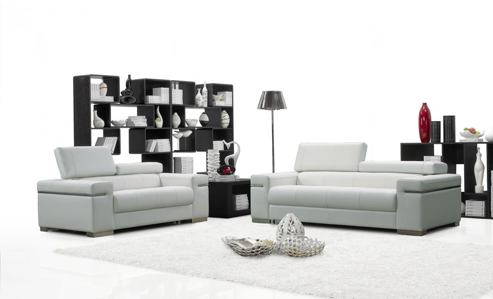 Soho Modern Sofa Loveseat Set in White Leather