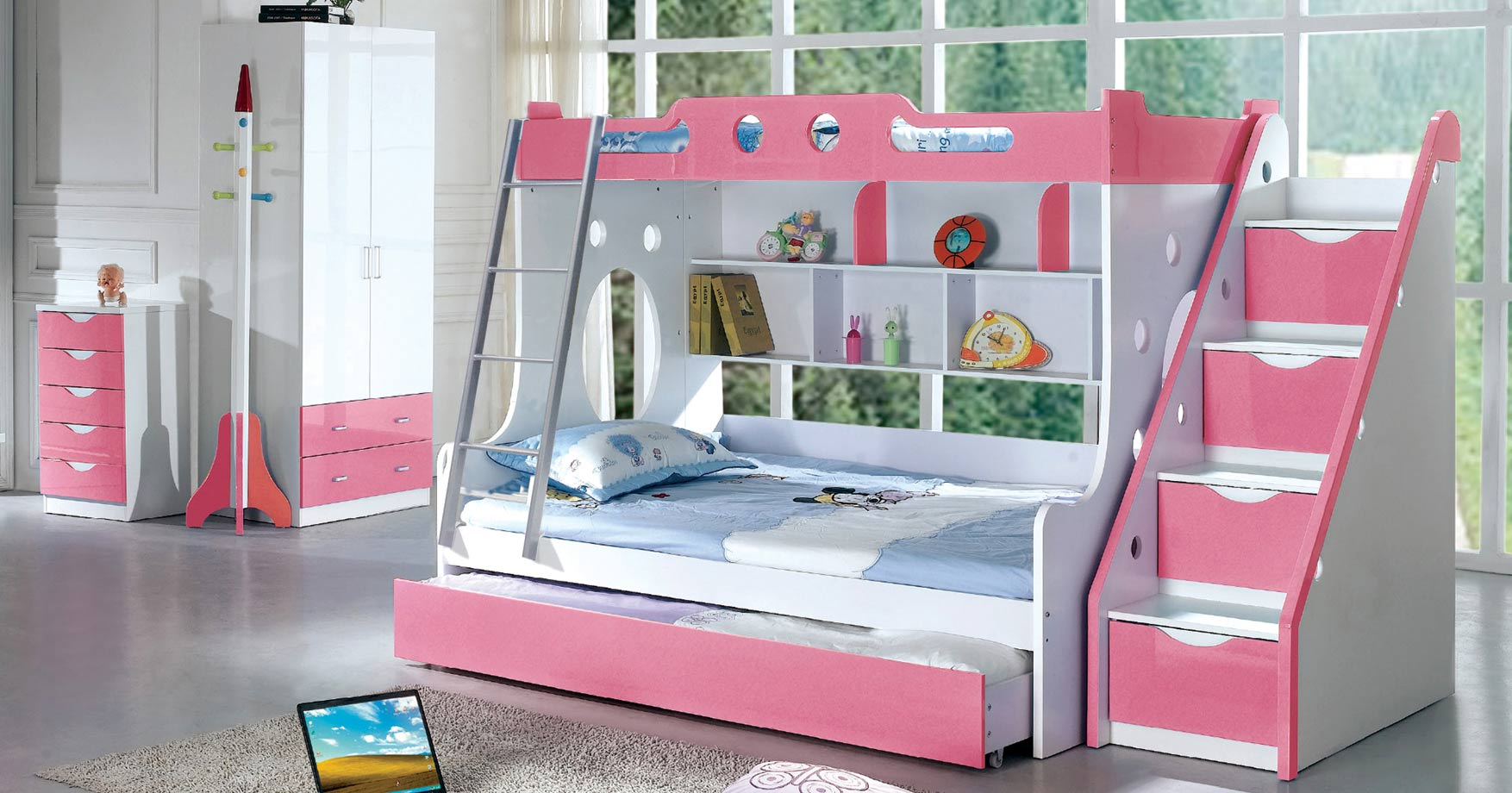 Modern Kids Furniture Girls Twin Full Bunk Bed 102b2
