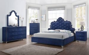 Caroline Bedroom Set in Navy Blue Velvet